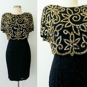 80s/90s Sequined Silk Black & Gold Cocktail Dress